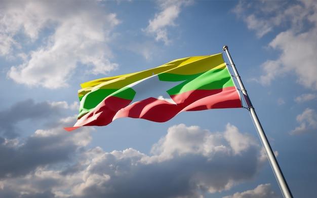 펄럭이는 미얀마의 아름다운 국기
