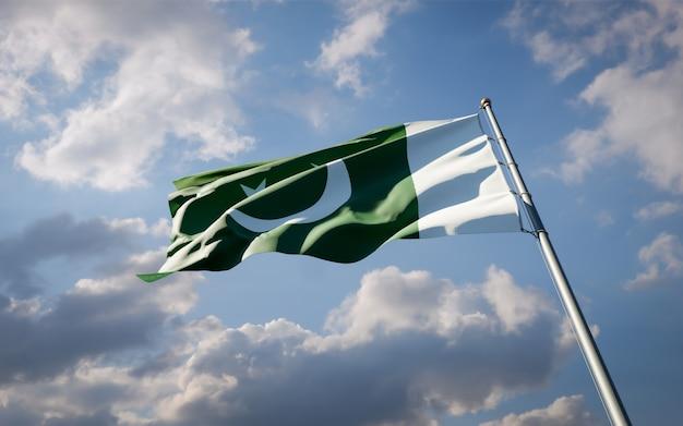 青い空に舞うパキスタンの美しい国民国家の旗