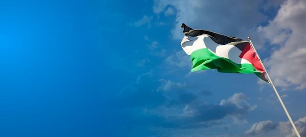 Красивый национальный государственный флаг палестины на голубом небе