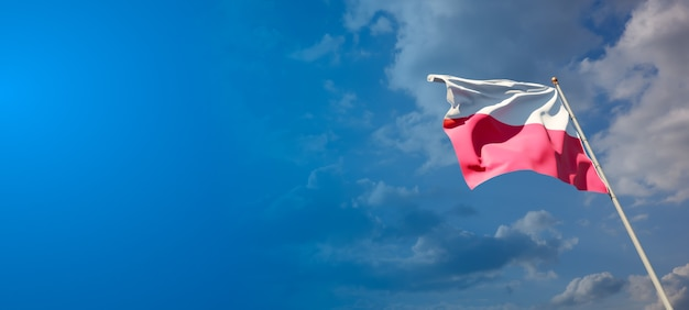 青い空にポーランドの美しい国民国家の旗