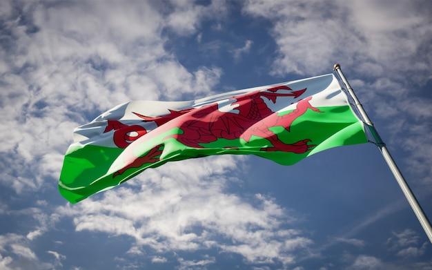羽ばたくウェールズの美しい国民国家の旗
