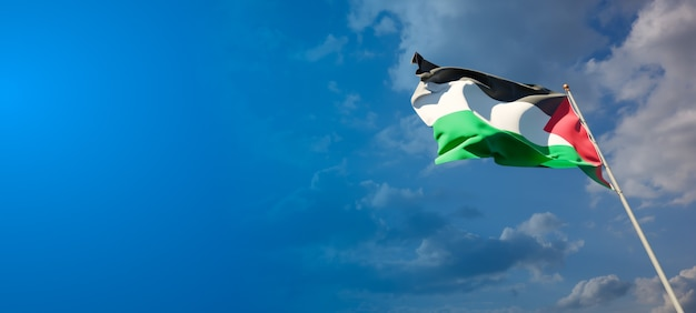 Beautiful national state flag of palestine on blue sky