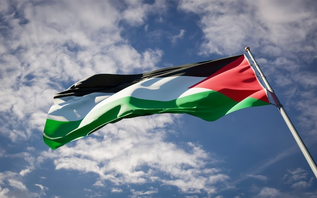 Beautiful national state flag of palestine fluttering on blue sky
