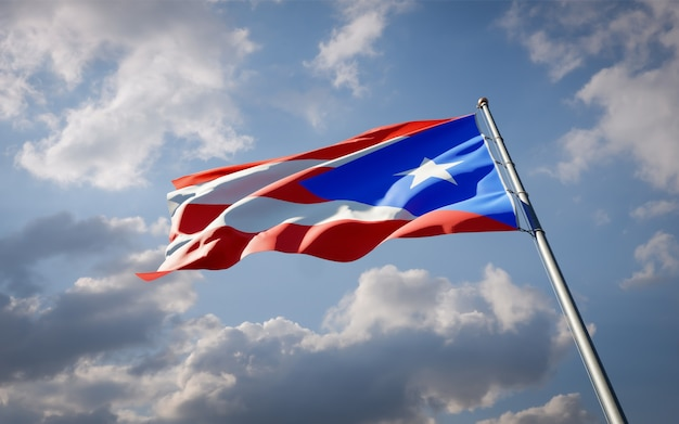 Beautiful national state flag of puerto rico fluttering