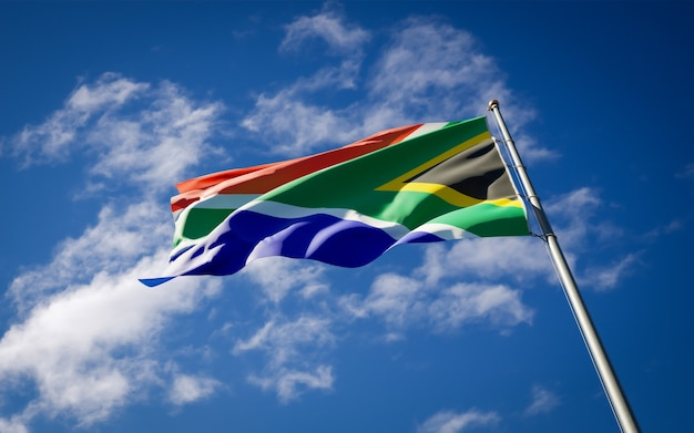Beautiful national state flag of south africa fluttering