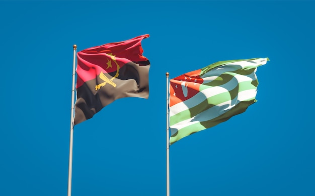 Beautiful national state flags of abkhazia and angola together