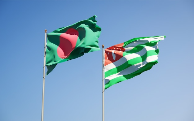 Beautiful national state flags of abkhazia and bangladesh together