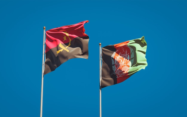 Beautiful national state flags of afghanistan and angola