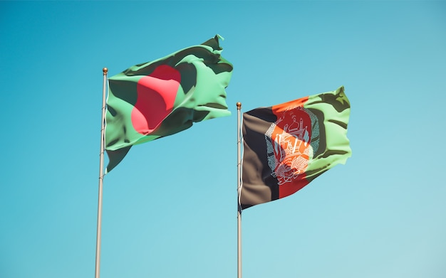 Beautiful national state flags of afghanistan and bangladesh