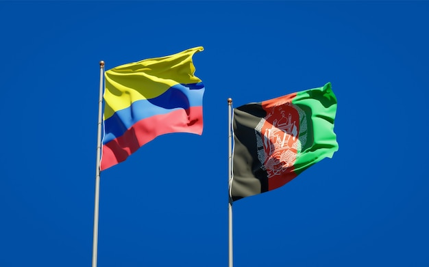 Beautiful national state flags of afghanistan and colombia
