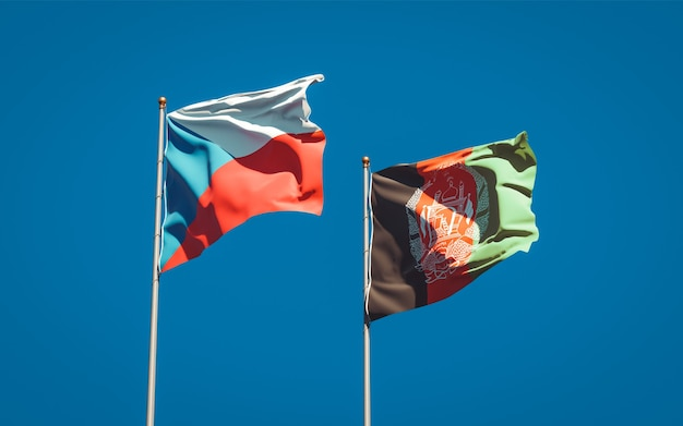 Beautiful national state flags of afghanistan and czech republic
