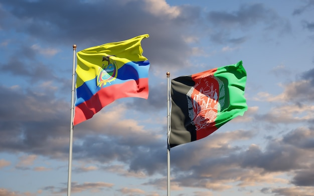 Beautiful national state flags of afghanistan and ecuador