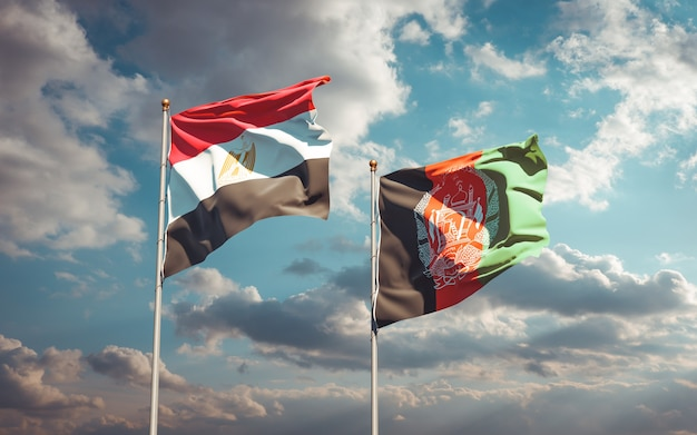 Beautiful national state flags of afghanistan and egypt