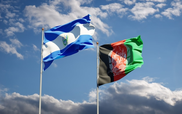 Beautiful national state flags of afghanistan and el salvador