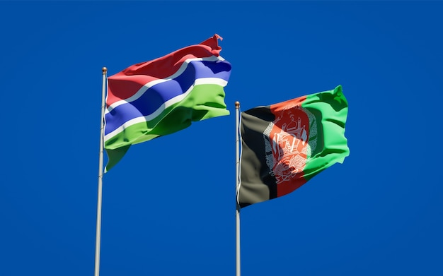 Beautiful national state flags of afghanistan and gambia