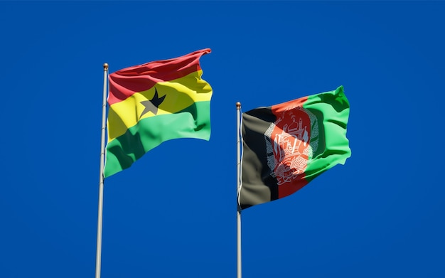 Beautiful national state flags of afghanistan and ghana