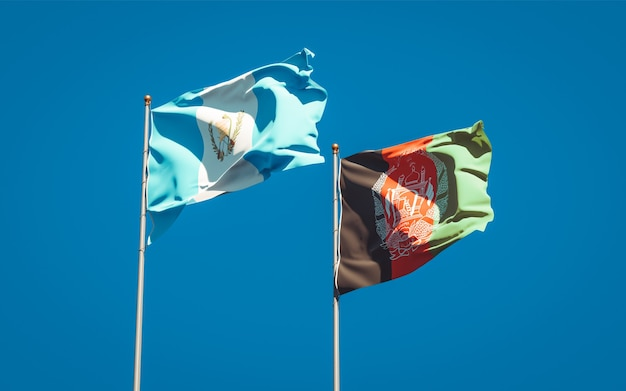 Beautiful national state flags of afghanistan and guatemala