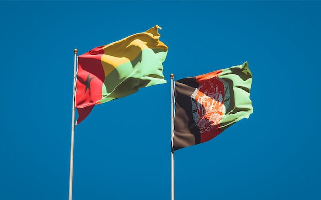 Beautiful national state flags of afghanistan and guinea bissau
