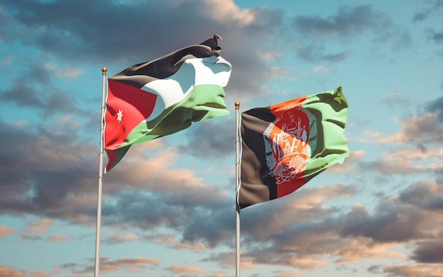 Beautiful national state flags of afghanistan and jordan
