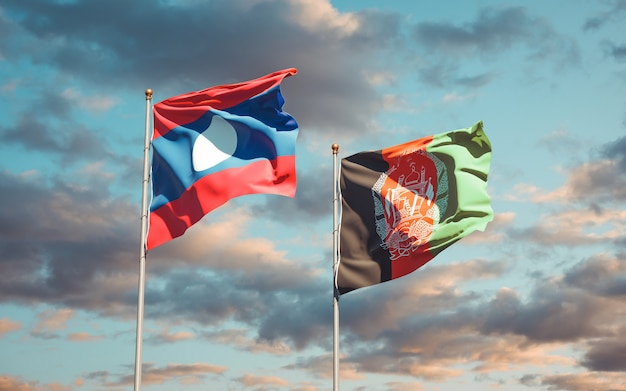 Beautiful national state flags of afghanistan and laos