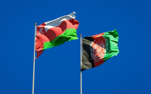 Beautiful national state flags of afghanistan and oman
