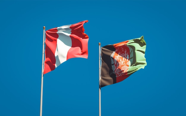 Beautiful national state flags of afghanistan and peru