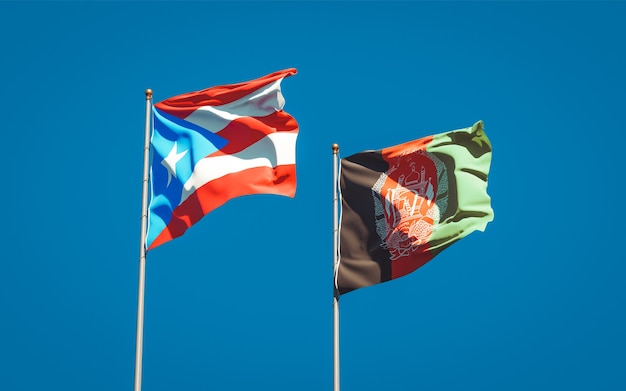 Beautiful national state flags of afghanistan and puerto rico