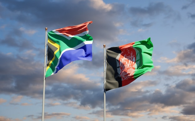 Beautiful national state flags of afghanistan and south africa