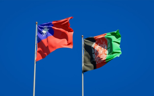 Beautiful national state flags of afghanistan and taiwan