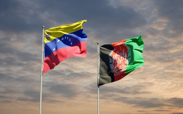 Beautiful national state flags of afghanistan and venezuela
