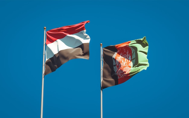 Beautiful national state flags of afghanistan and yemen