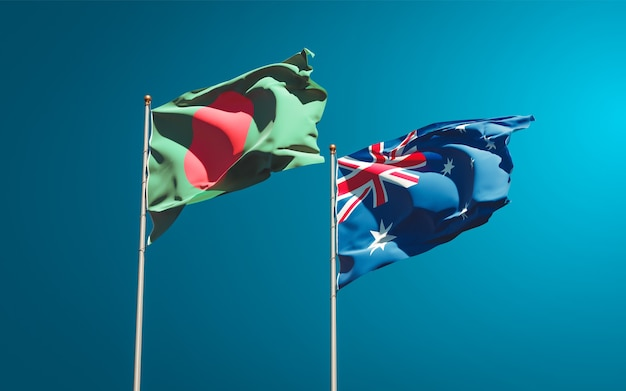 Beautiful national state flags of australia and bangladesh together