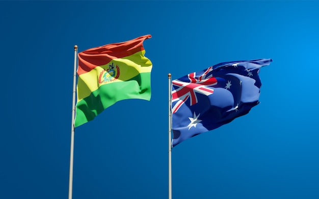 Beautiful national state flags of australia and bolivia together