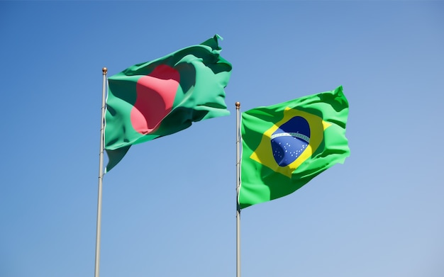 Beautiful national state flags of brasil and bangladesh together on blue sky
