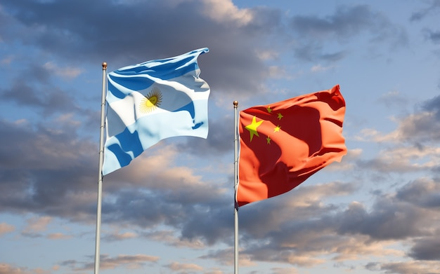 Beautiful national state flags of china and argentina together at the sky