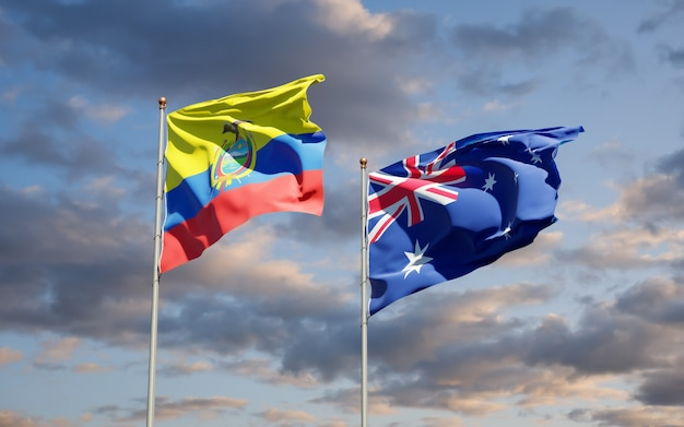 Beautiful national state flags of ecuador and australia together