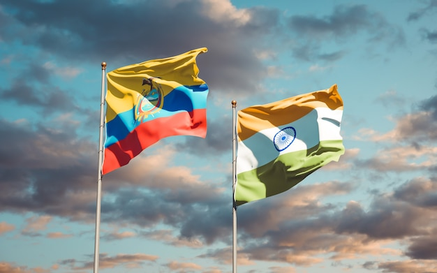 Beautiful national state flags of ecuador and india together