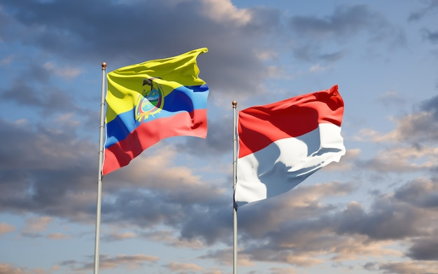 Beautiful national state flags of ecuador and indonesia together on blue sky