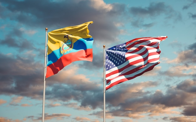 Beautiful national state flags of ecuador and usa together