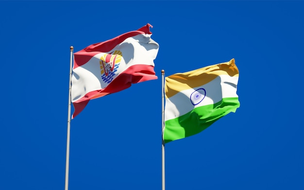Beautiful national state flags of french polynesia and india together