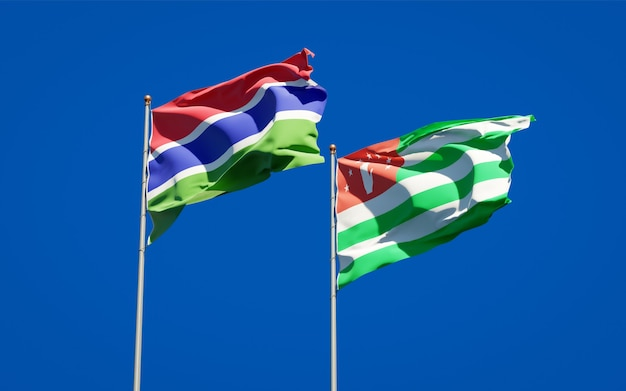 Beautiful national state flags of gambia and abkhazia together