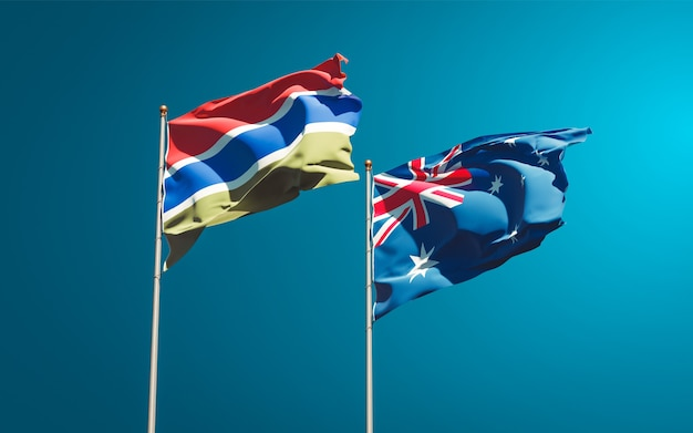 Beautiful national state flags of gambia and australia together