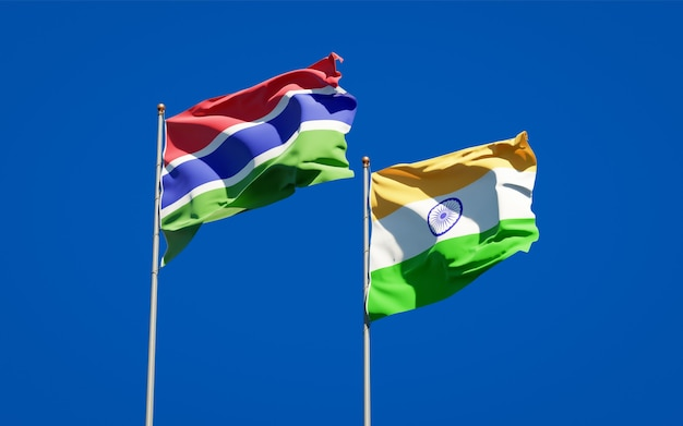 Beautiful national state flags of gambia and india together