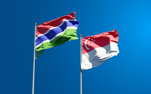 Beautiful national state flags of gambia and singapore together
