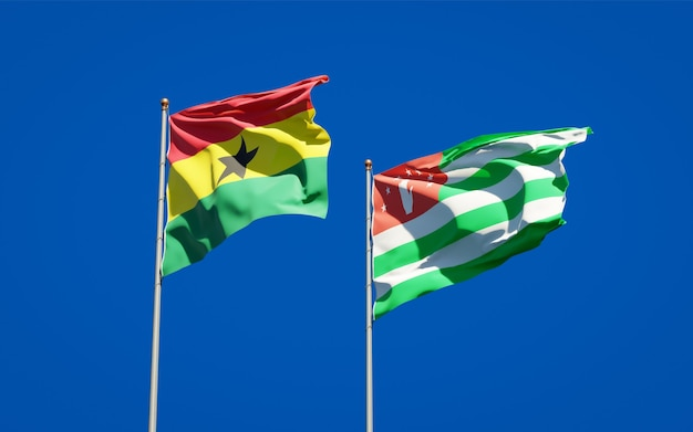 Beautiful national state flags of ghana and abkhazia together