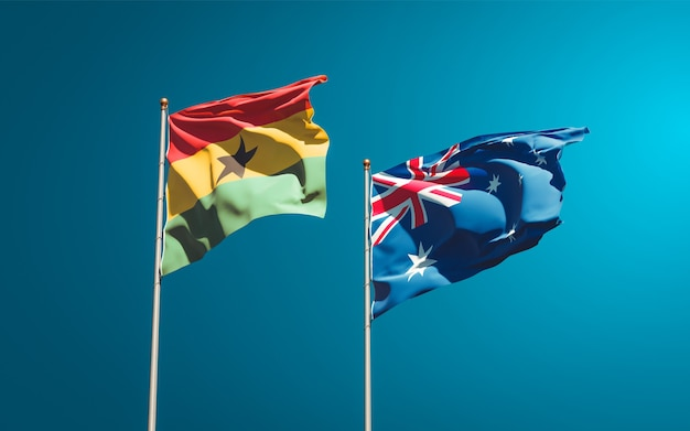 Beautiful national state flags of ghana and australia together