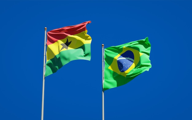 Beautiful national state flags of ghana and brasil together on blue sky