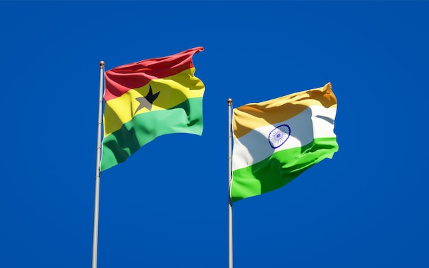 Beautiful national state flags of ghana and india together