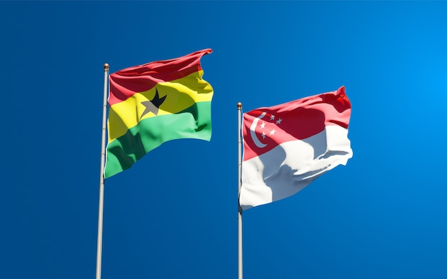 Beautiful national state flags of ghana and singapore together