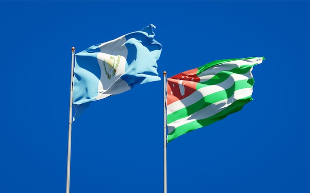 Beautiful national state flags of guatemala and abkhazia together